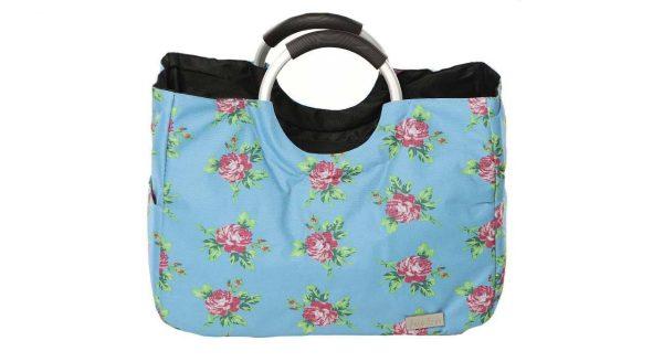 کیف خرید آبی گلدار