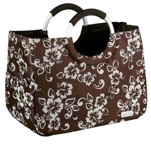 کیف خرید قهوه ای گلدار