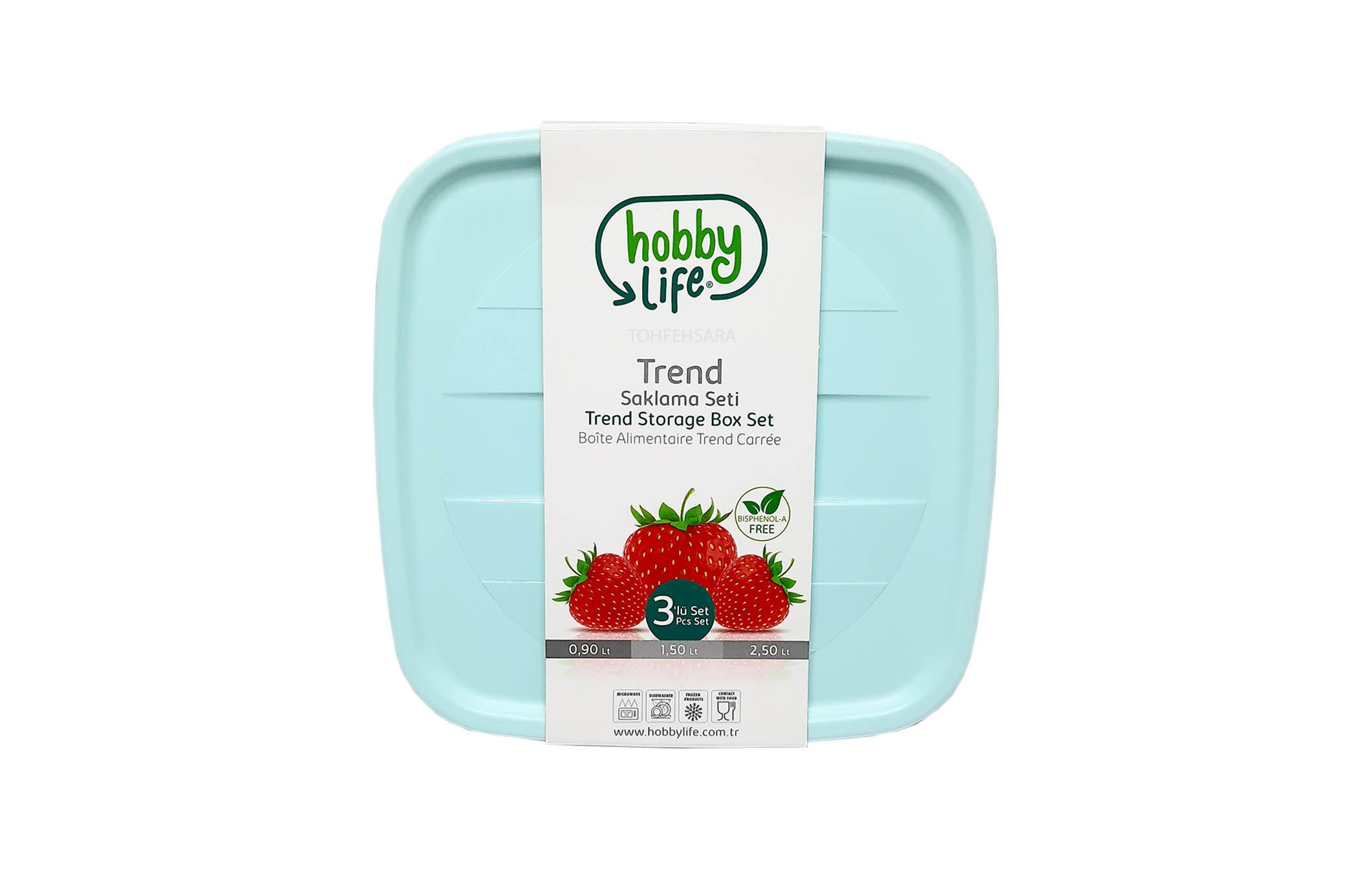 ظروف نگهدارنده مربع ۳ تایی هوبی لایف ۱۰۳۶